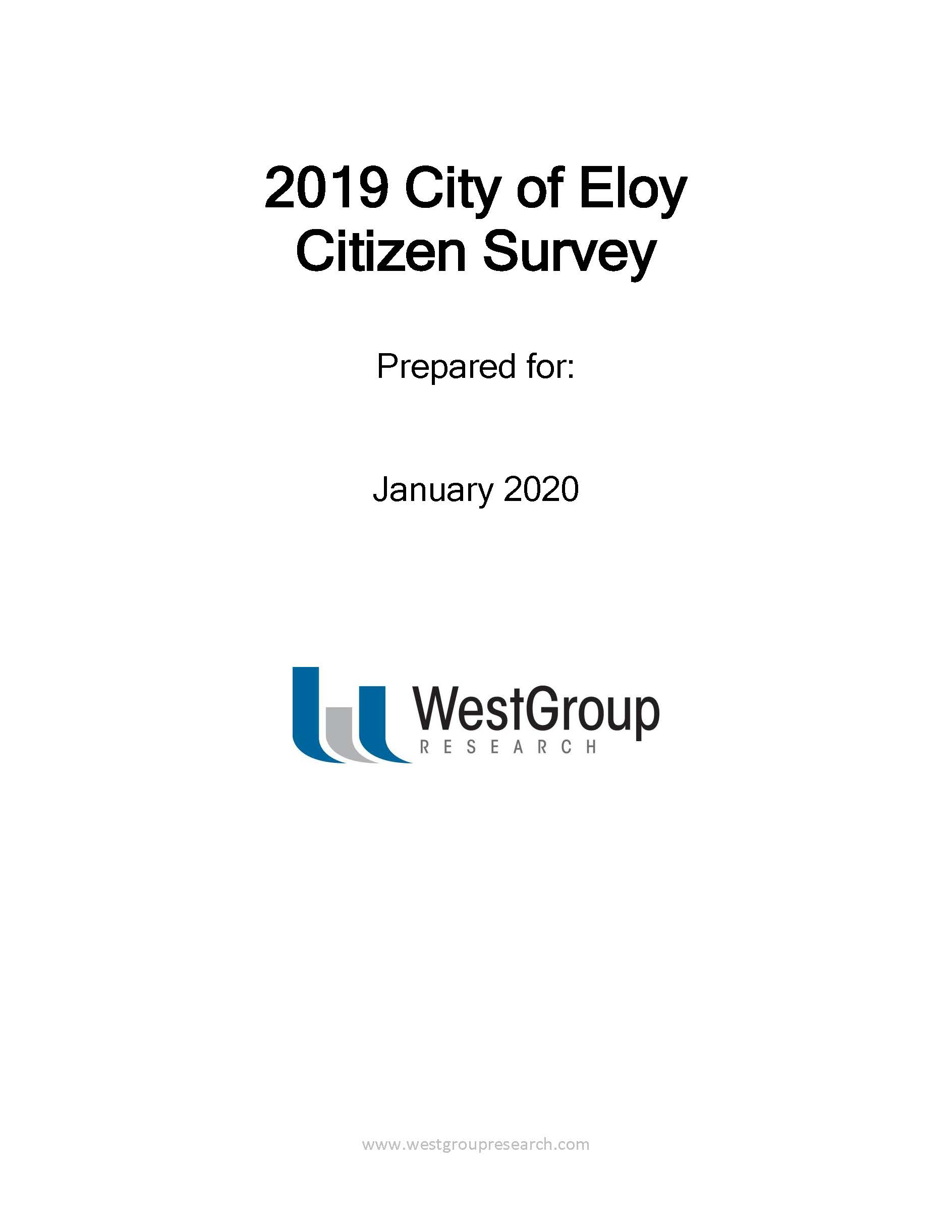 City of Eloy Citizen Survey -Front Cover