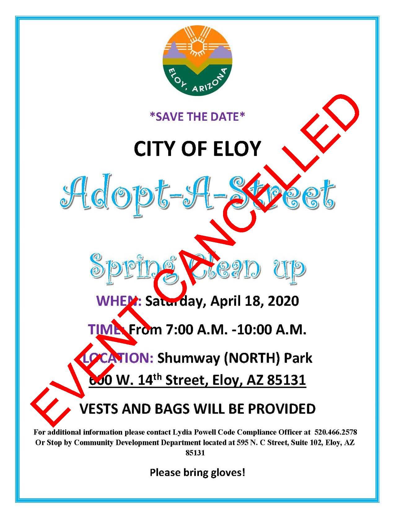 Spring Clean Up April 18 2020 EVENT CANCELLED