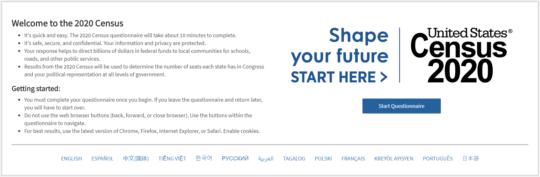 Census 2020 Shape your future START HERE Questionnaire Opens in new window